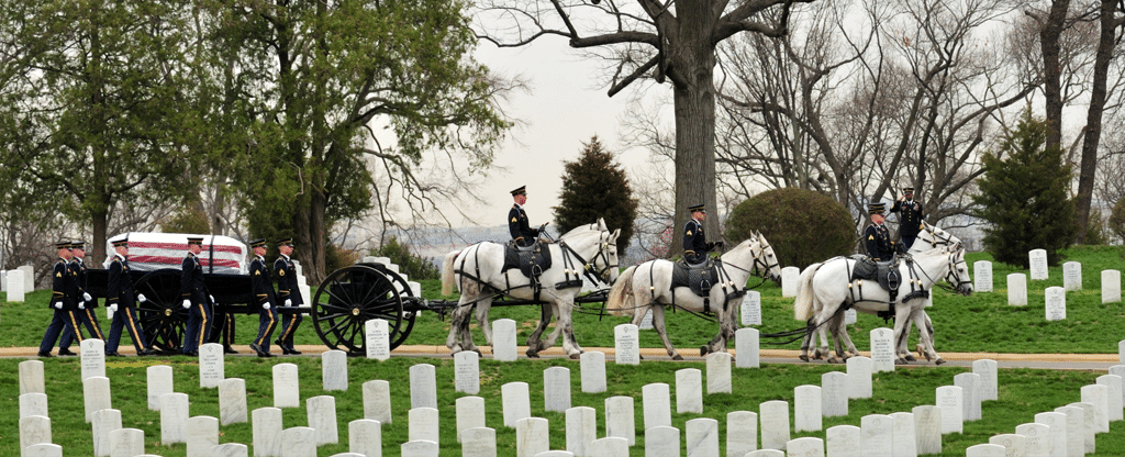 A soldier is laid to rest at Arlington National Cemetery