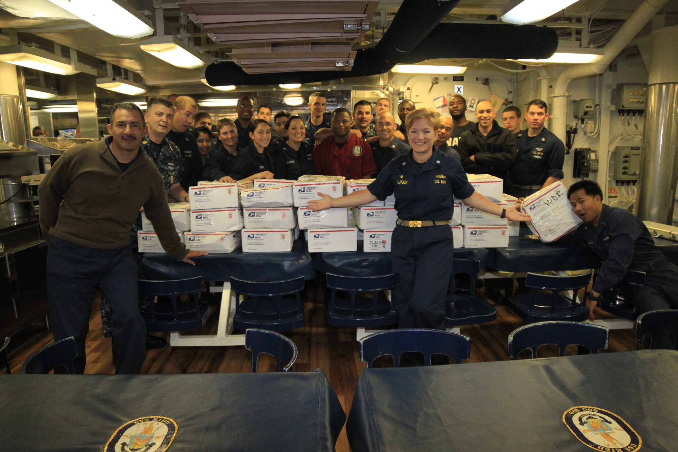 Sailors from the USS Kidd receive Freedom Alliance care packages.