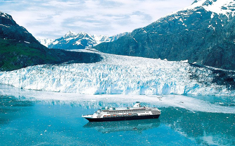 A Holland America ship sails Glacier Bay.